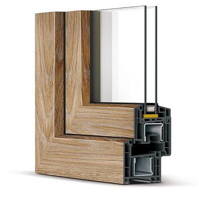 Образец среза окна REHAU Brillant-Design